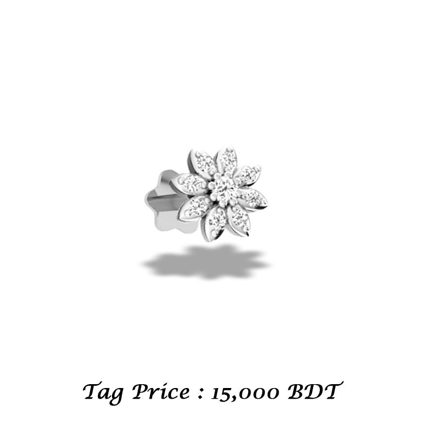Get Special Discount From Tag Price Diamond Nose Pin 9 Piece Round