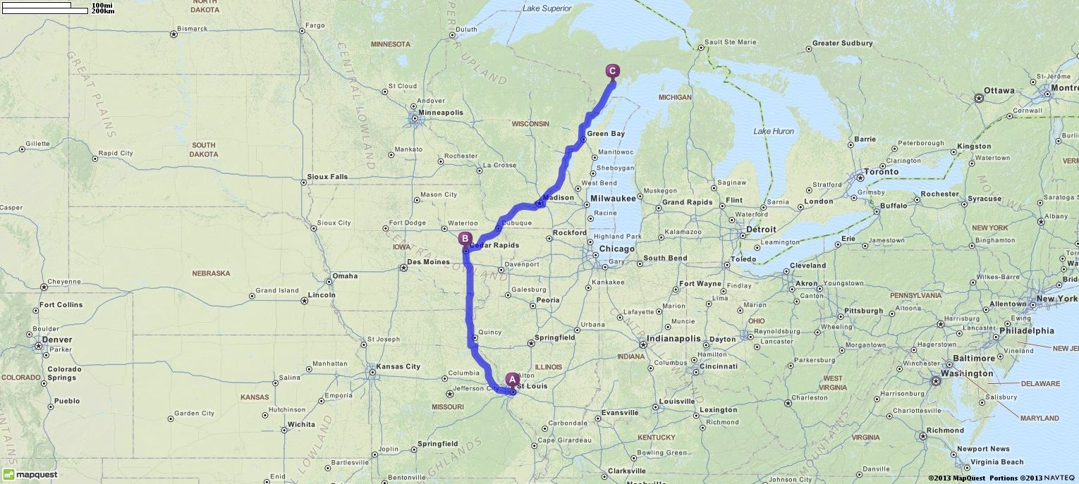 Driving Directions from St Louis, Missouri to Escanaba ...