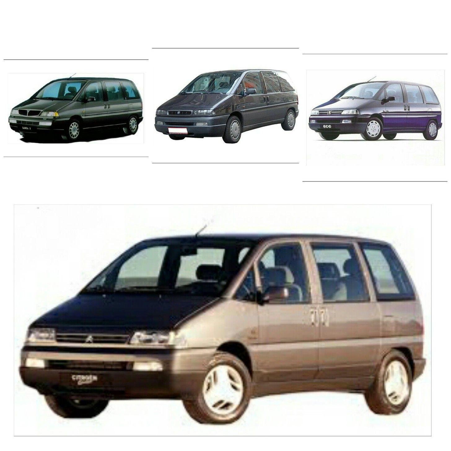 Lancia zeta top left fiat ulysse top centre peugeot 806