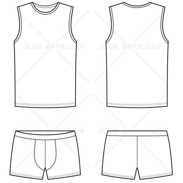 Men's Boxer Brief & Tank Top Fashion Flat Template in 2019