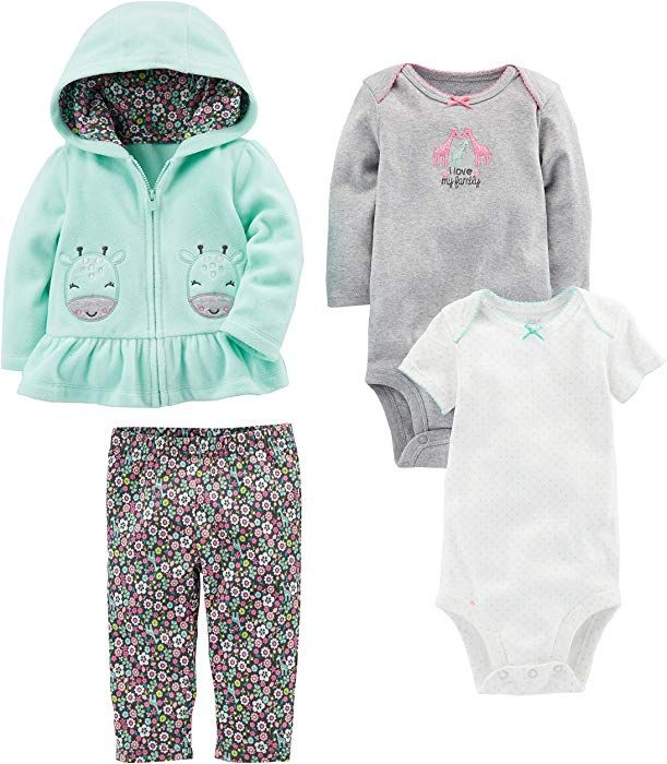 and Bodysuit Set Simple Joys by Carters Baby Girls 4-Piece Jacket Pant