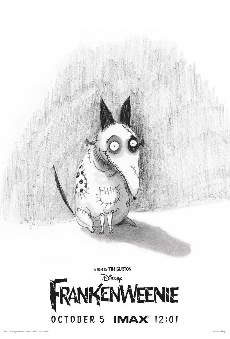 New 'Frankenweenie' poster celebrating the IMAX midnight premiere on October 5.