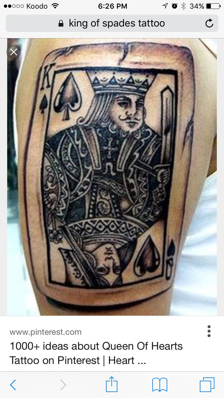 Queen Of Hearts And King Of Spades Tattoo Spade Tattoos Card