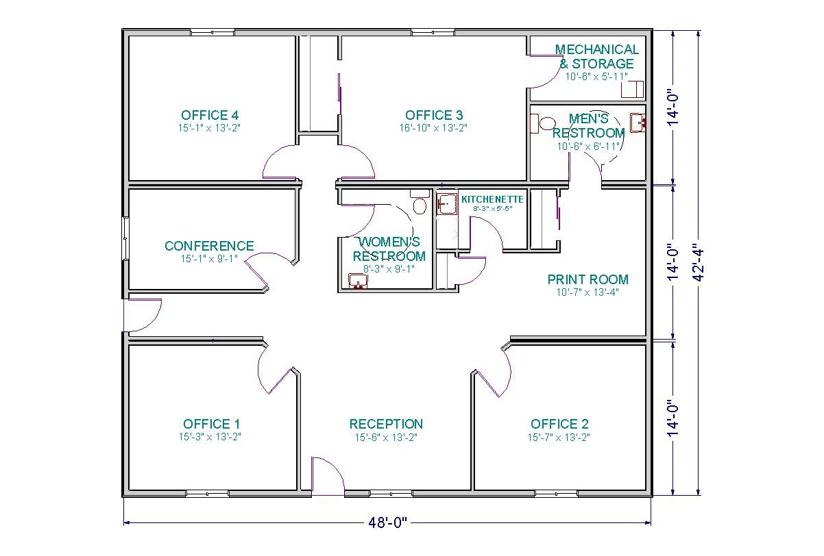 Small office floor plan room and a conference room for Metal building layouts