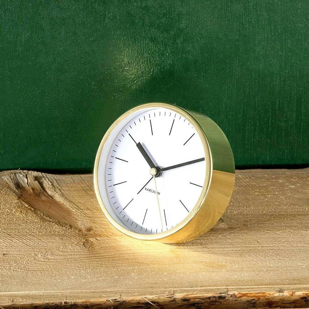 Karlsson gold alarm clock minimal white clock alarm