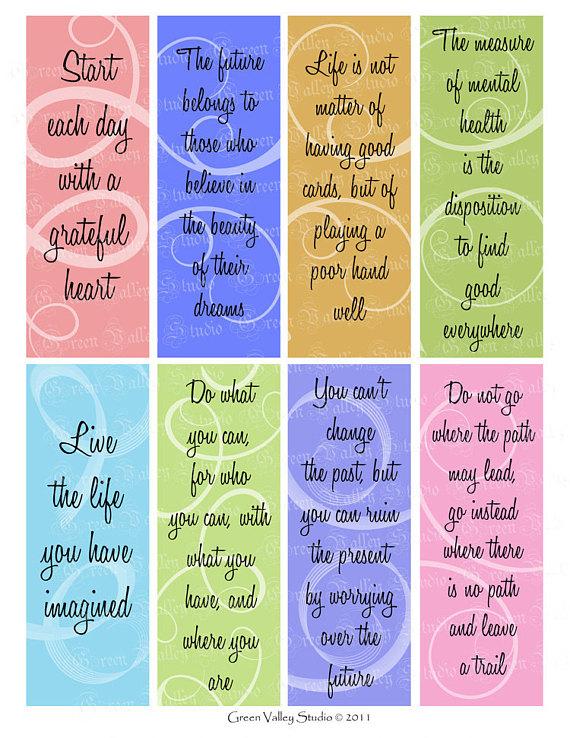 INSTANT DOWNLOAD Digital Images Sheet Bookmarks Colorful