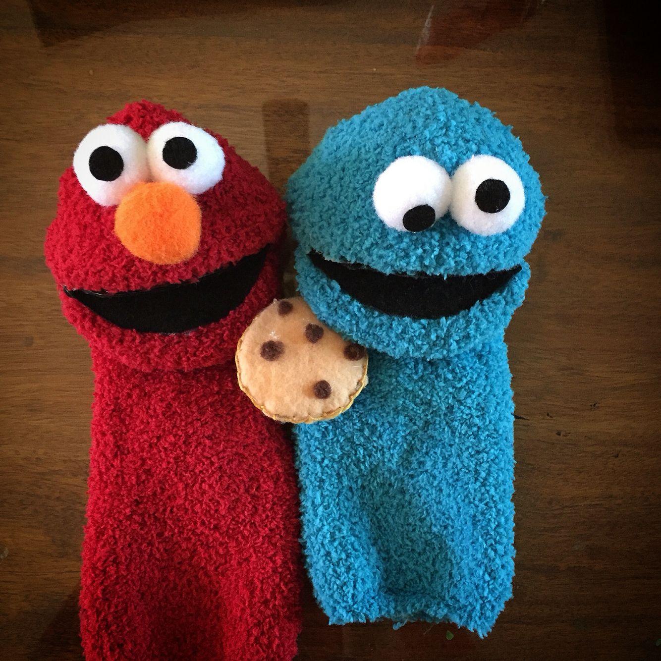 Elmo & Cookie Monster sock puppets | Preschool teacher