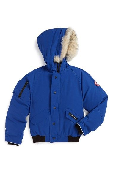 0a2ce546d3907b Canada Goose  Rundle  Down Bomber Jacket with Genuine Coyote Fur Trim (Little  Boys   Big Boys) at Nordstrom.com. Reinforced fabric at the elbows and a ...