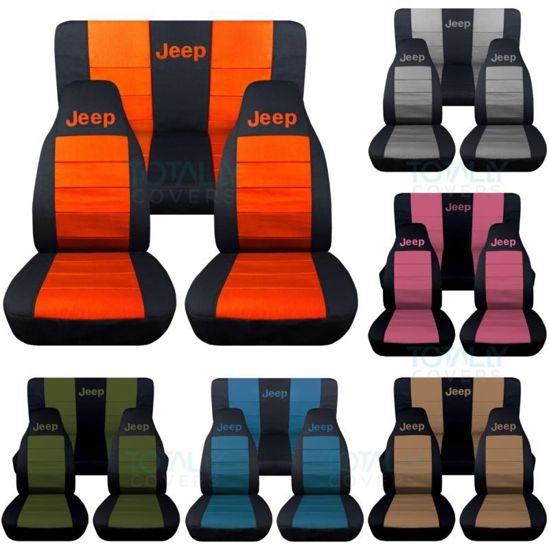 Jeep Wrangler YJ/TJ/JK 1987 2018 2 Tone Seat Covers W Logo Front U0026 Rear  Full Set
