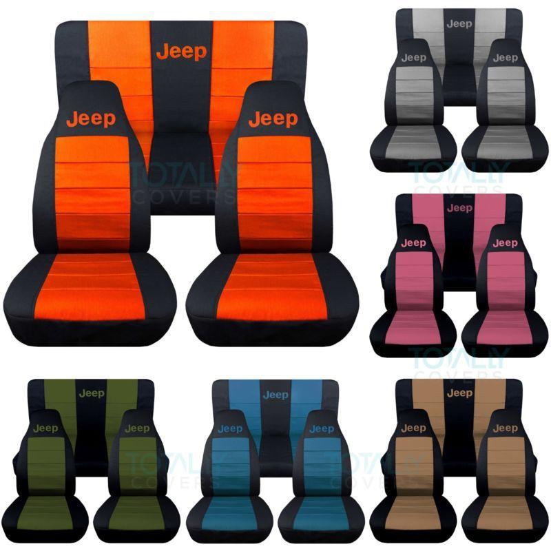 Jeep Wrangler Yj Tj Jk Jl 1987 2020 2 Tone Seat Covers Your Name Front Rear Set Ebay Jeep Wrangler Yj Jeep Wrangler Accessories Jeep Wrangler