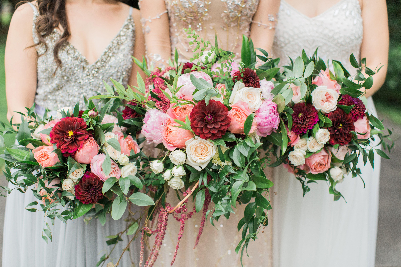 Burgundy, peach, blush, and ivory garden style wedding ...