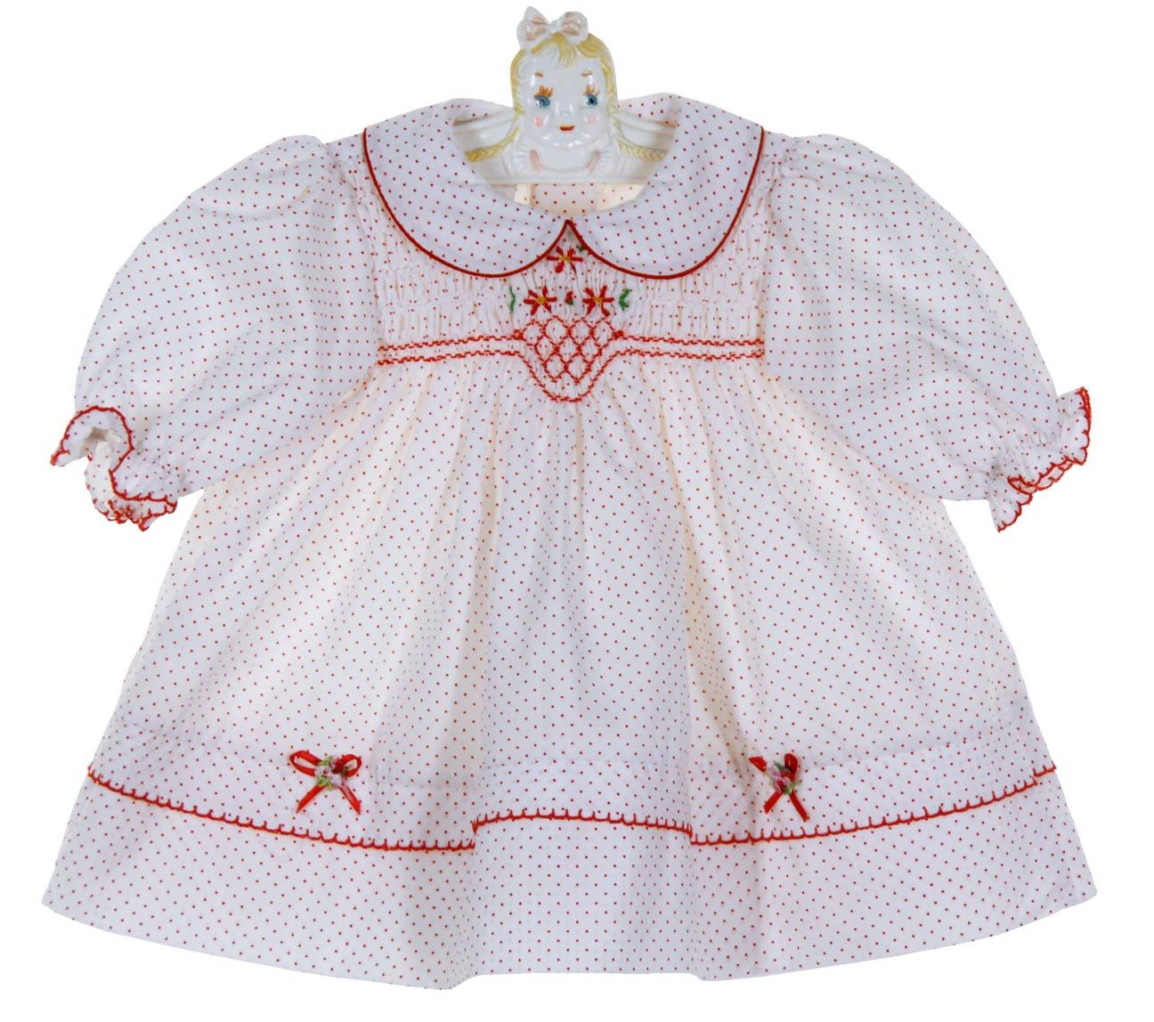 New Polly Flinders White Dotted Smocked Dress With Red Flowers 75 00 Polly Flinders Dresses Christmas Dress Baby Kids Christmas Outfits [ 1148 x 1296 Pixel ]