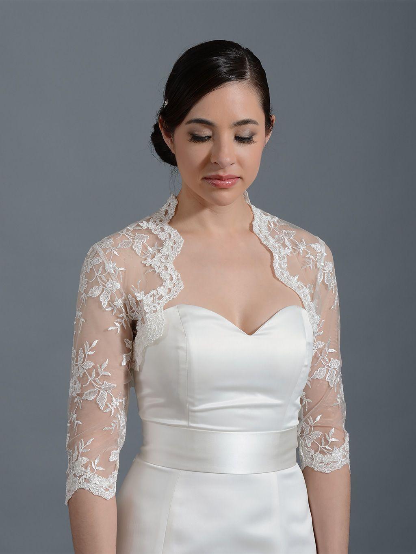 4c9d7b2429 Ivory 3 4 sleeve bridal embroidered lace wedding jacket