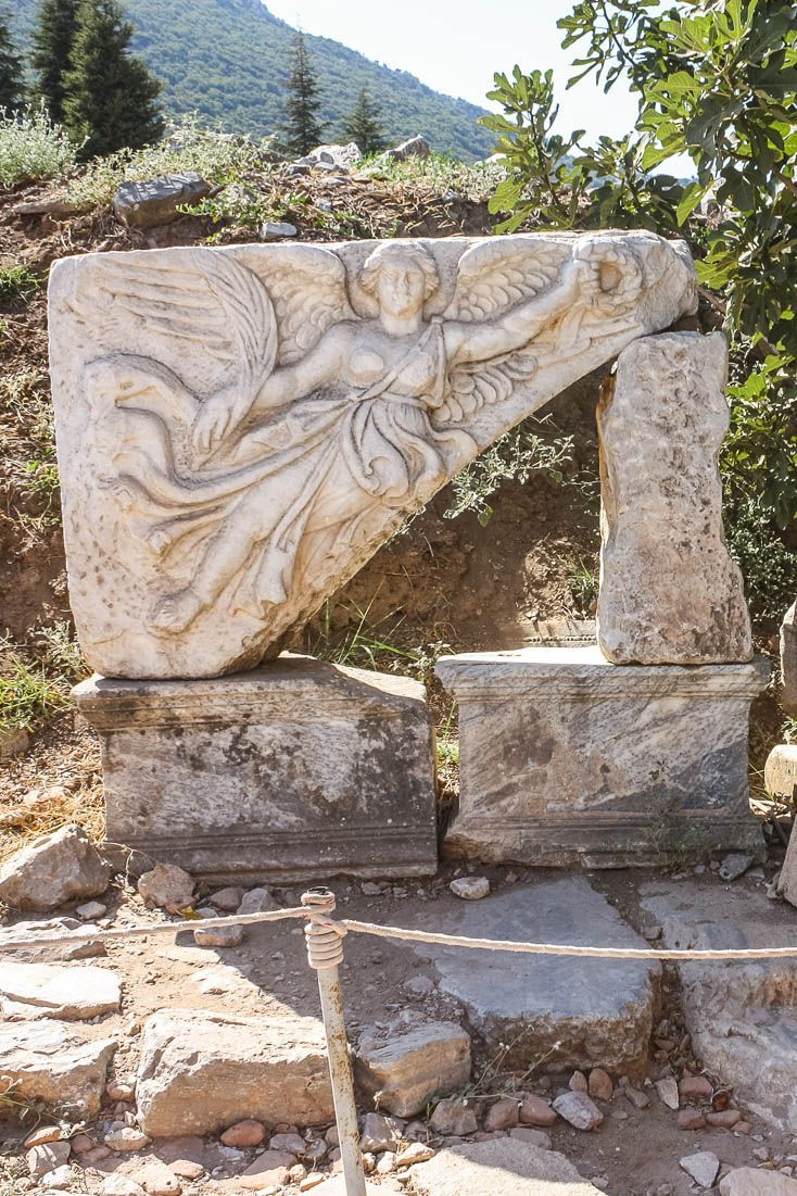 Statue of Nike, goddess who personified victory located at the ruins of Ephesus in Turkey. #Ephesus #Travel #Turkey #gods #nike #goddess