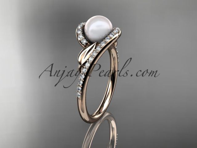 14k rose gold diamond leaf and vine, pearl wedding ring, engagement ring AP317