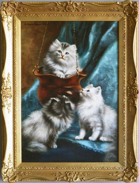 Antiques Animal Paintings Persian Kittens Art