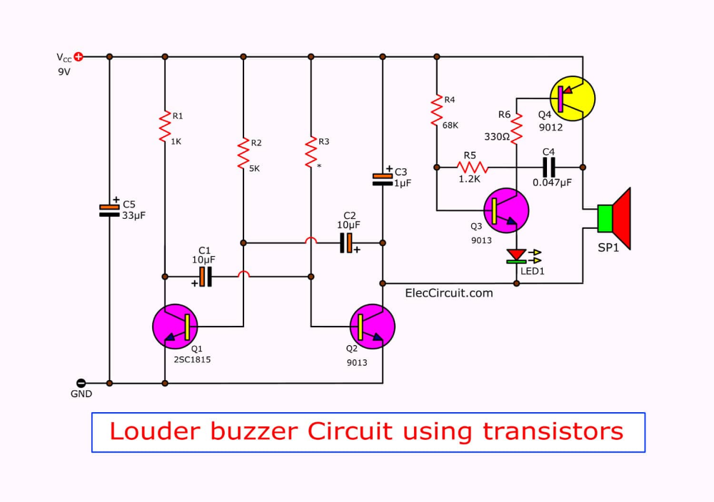 How To Make Buzzer Circuit Projects Eleccircuit Com Circuit Projects Circuit Electronic Circuit Projects
