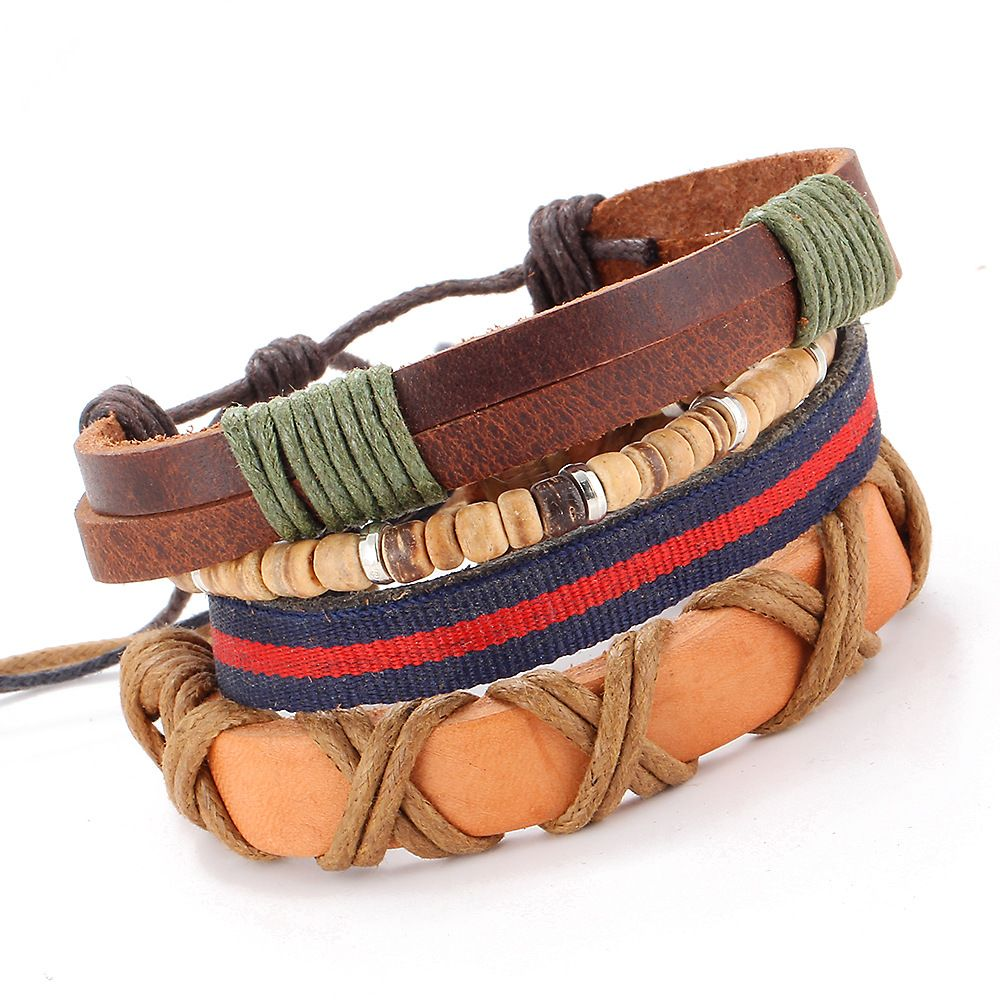 Overlapping layers hand woven leather bracelet bracelet