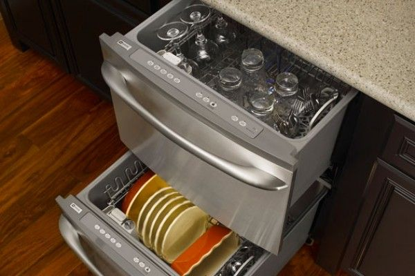 How To Choose The Perfect Dishwasher For Your Home Freshome Com Drawer Dishwasher Space Saving Kitchen Drawer Dishwashers