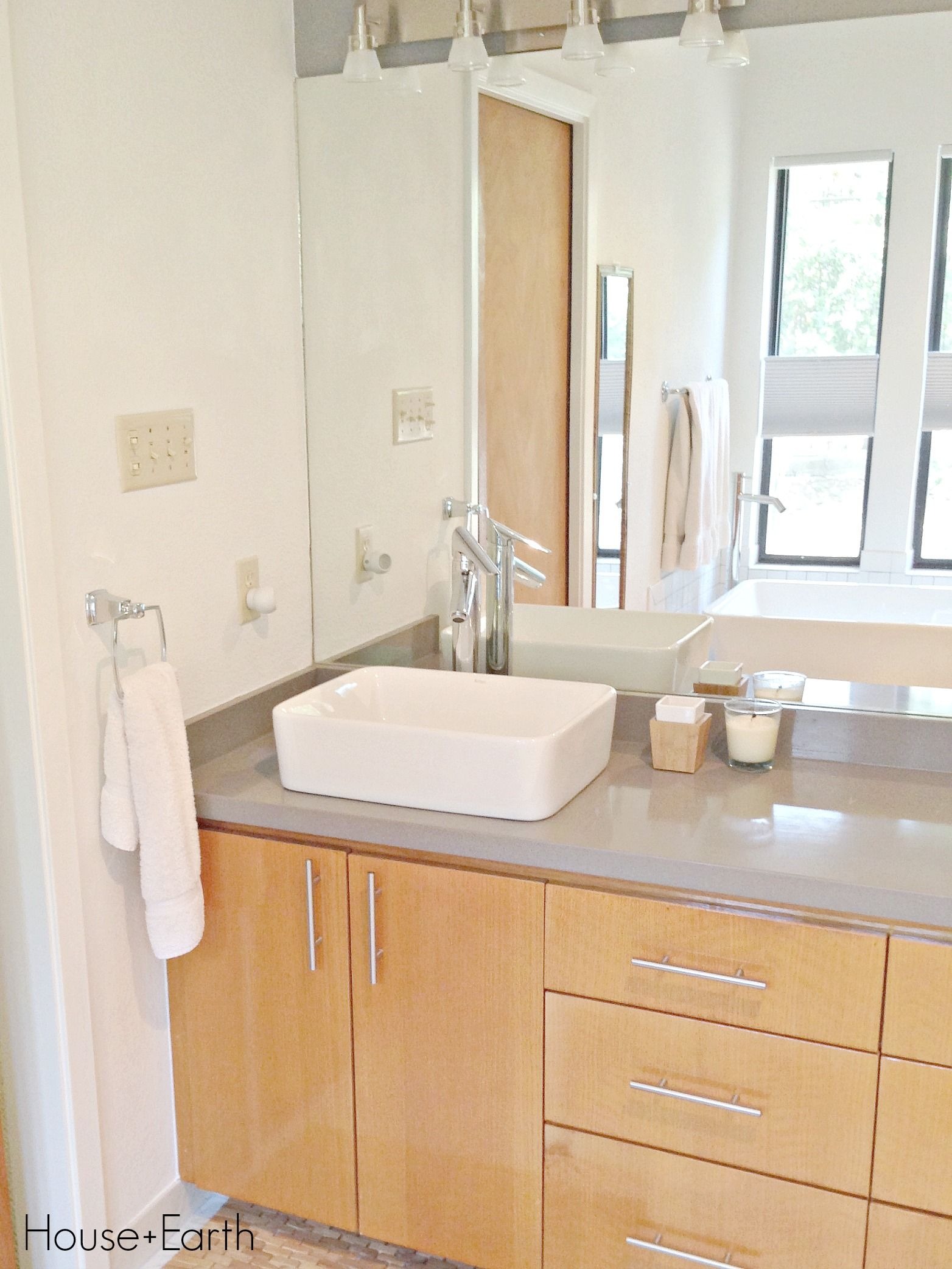 Bathroom Renovation Silestone Grey Expo Counter Top White Vessel Sinks Stained Cabinetry