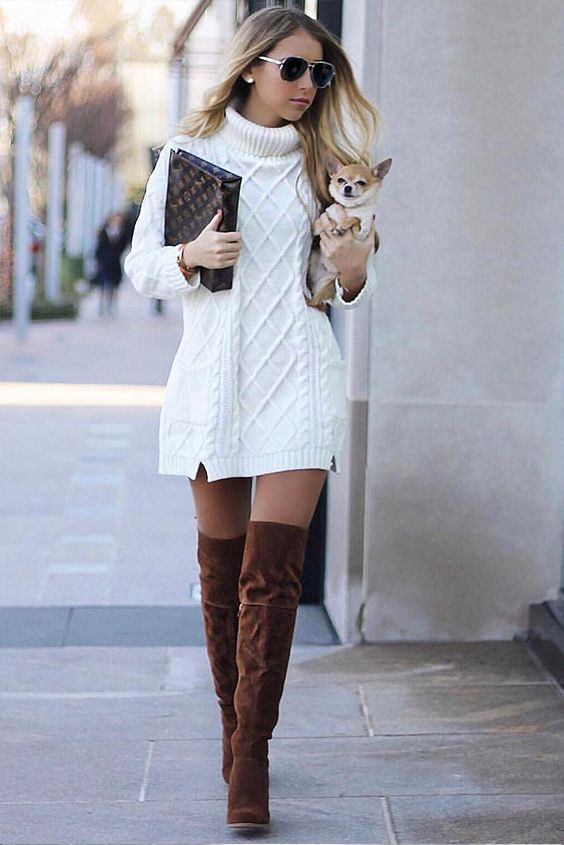 White Turtleneck Side Slit Pocket Cable Knit Sweater Dress 1