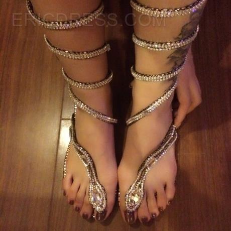 37db74d651be Ericdress Unique Snake Shape Rhinestone Decoration Flat Sandals Flats  Sandals