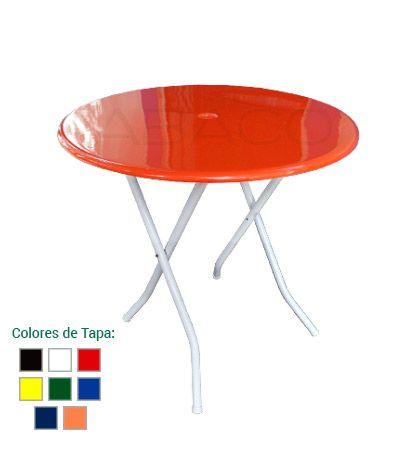 Mesa Redonda, tapa de Fibra de Vidrio y patas de Caño. Colores ...