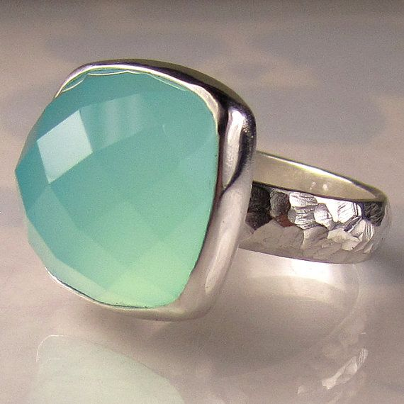Sea Green Chalcedony Cocktail Ring by JanishJewels on Etsy, $140.00