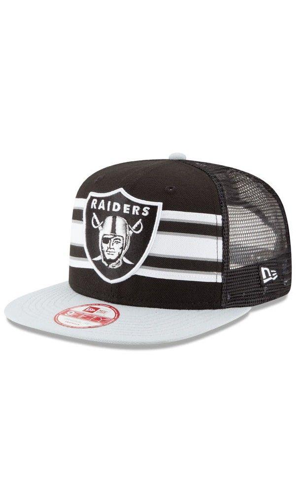 NFL Men s Oakland Raiders New Era Black Gray Throwback Stripe Original Fit 9FIFTY  Snapback Adjustable Hat - NFL 0aa805252