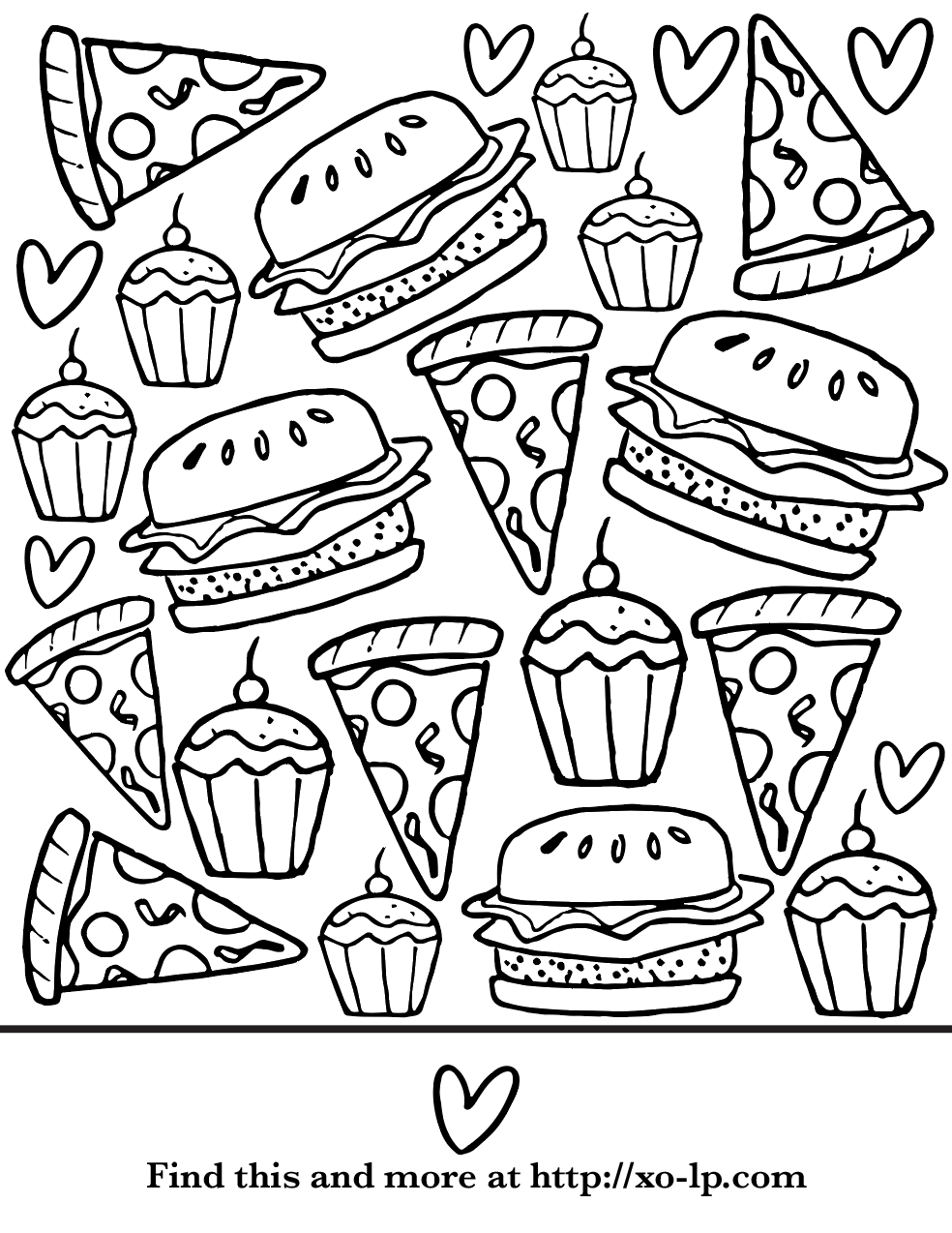 Party Food Coloring Page Food Coloring Pages Summer Coloring Pages Fall Coloring Pages