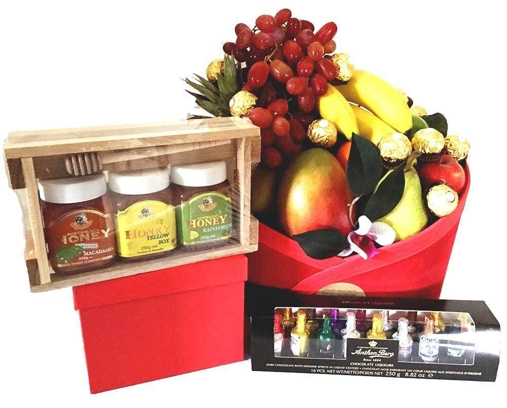Fruit Gift Basket Chocolates Honey Gift Pack In 2020 Fruit Basket Gift Chocolate Gifts Basket Fruit Gifts