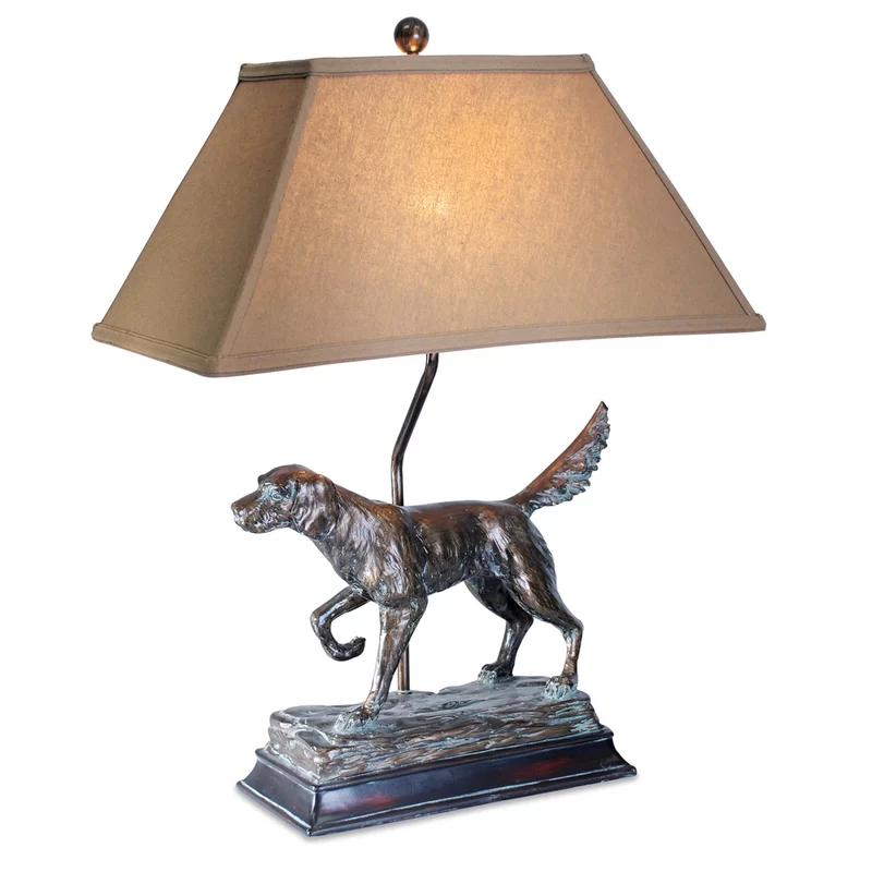Bronze Dog Sculpture Table Lamp For