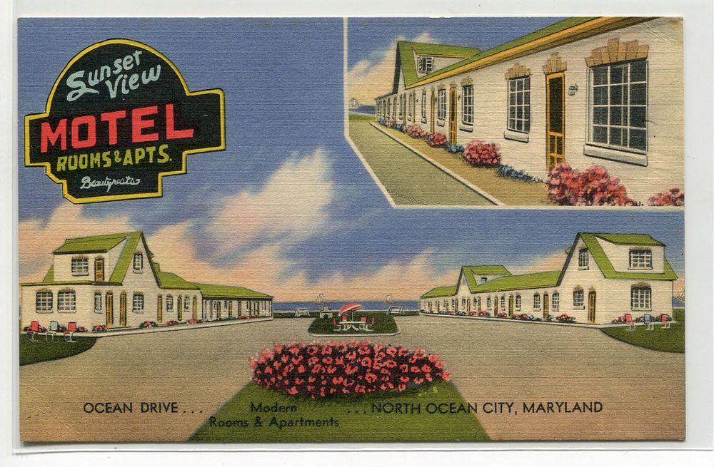 Details About Sunset View Motel Ocean City Maryland Linen Postcard Ocean City Ocean Motel