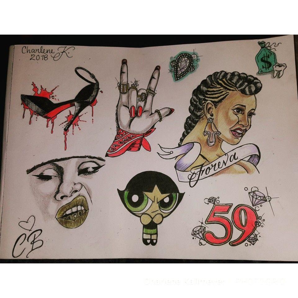 Tattoo flash, Cardi b, tattoo, ink, Disney tattoos