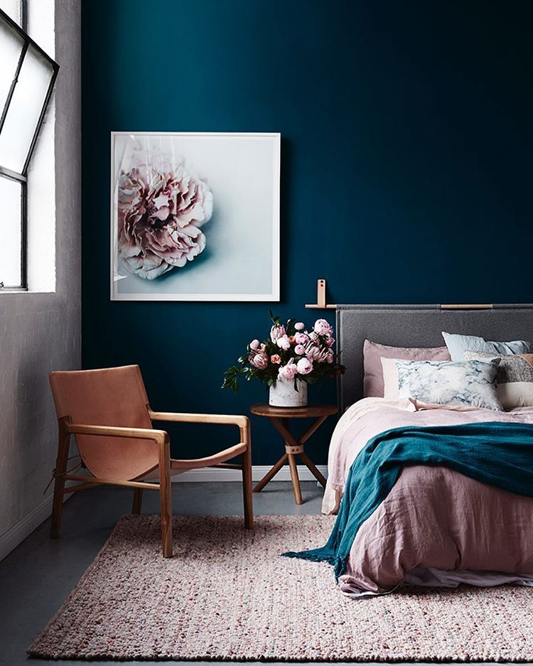 Navy Bedroom With Pink And Tan Tones