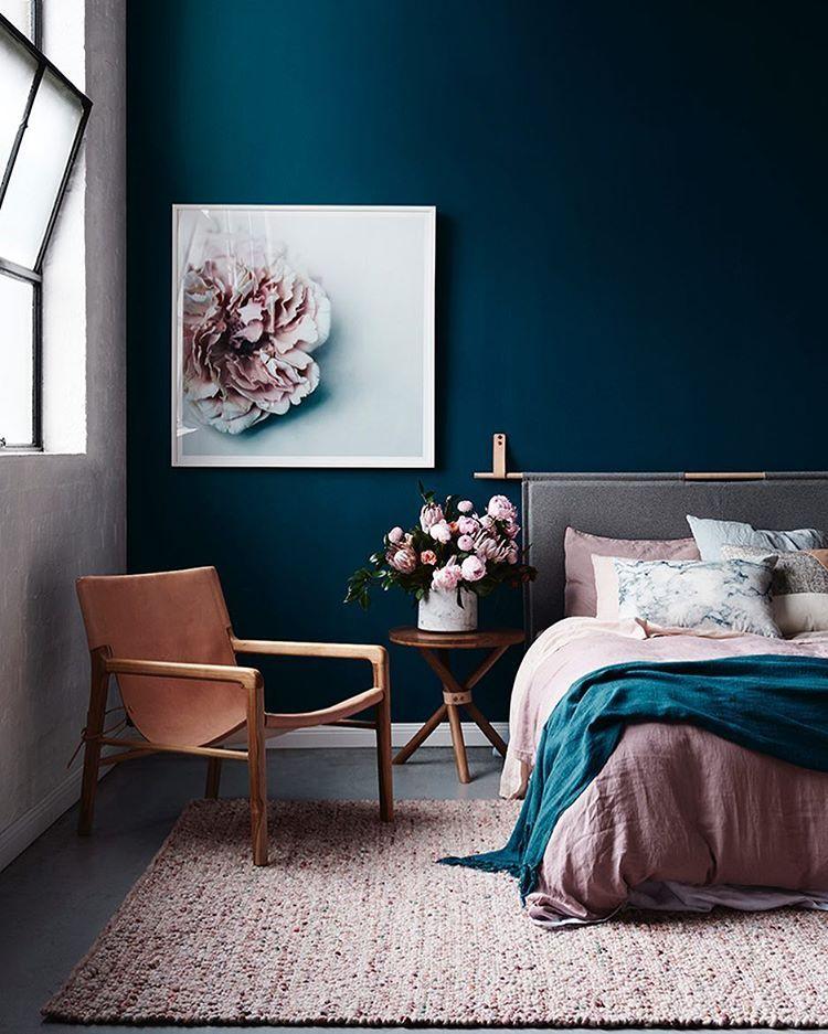 Navy Bedroom With Pink And Tan Tones Interior Design Bedroom