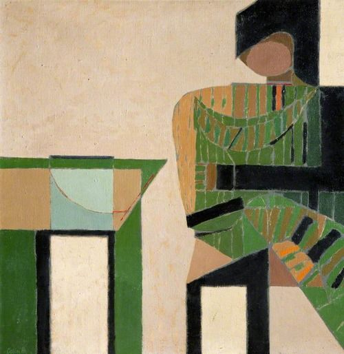 Figure beside a table, Colin Middleton