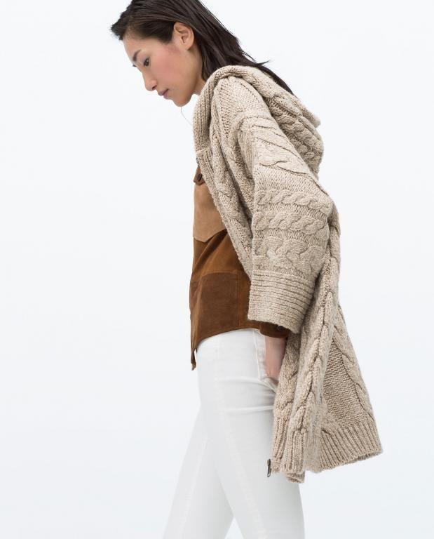Blezer Zara Sweter Brazowy M Oversize Kardigan Fashion White Jeans Sleeve Top