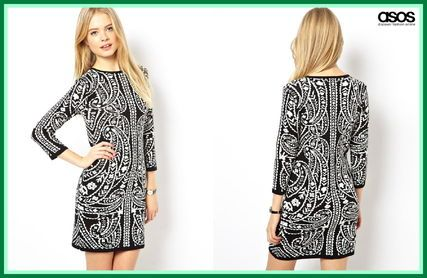 セレブ多数愛用★ASOS☆Bodycon Knit Dress In Baroque Pattern 女性特有のタイトな美シルエットを作り出す、繊細なデザイン!!! アクセント力抜群の、モノトーンバロックパターンプリントが目をひくデザイン性に優れた ワンピースです☆