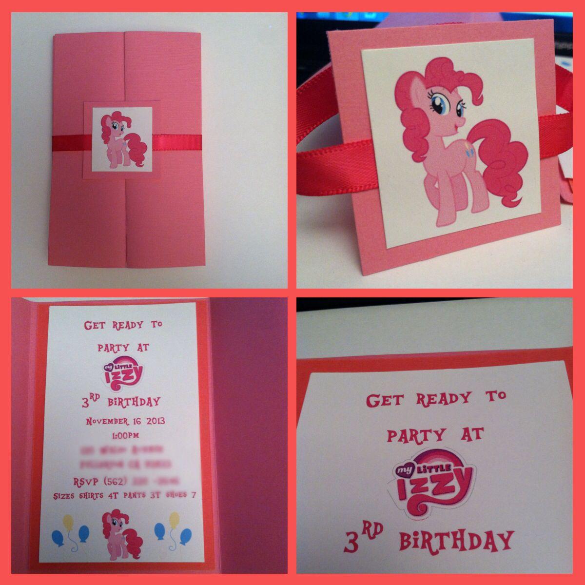 Pinkie Pie Invitation My Little Pony Invitation