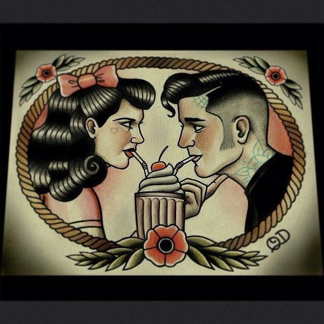 #Rockabilly Sweethearts, now in the shop :) #tattooflash #art #illustration