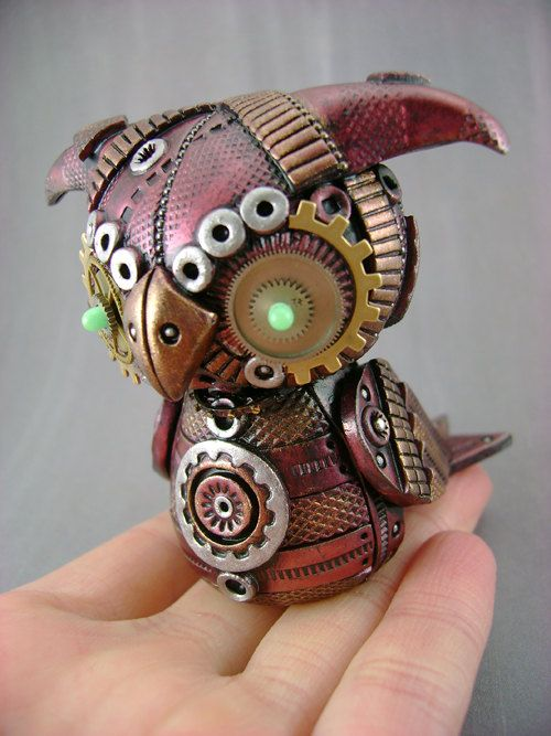 Amnon - MechOwlie No.51 - Polymer Clay Industrial Steampunk Owl - Figurine. $149.00, via Etsy.