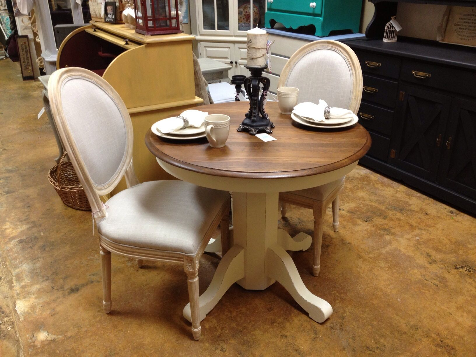 Painted round dining table  Refinished small round table with two sweet French chairs  The