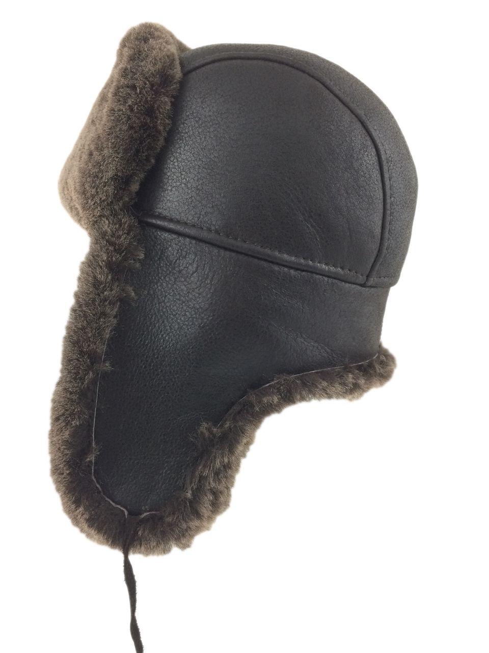 a7159ee9b Shearling Sheepskin Aviator Winter Fur Hat - Brown | winter ...