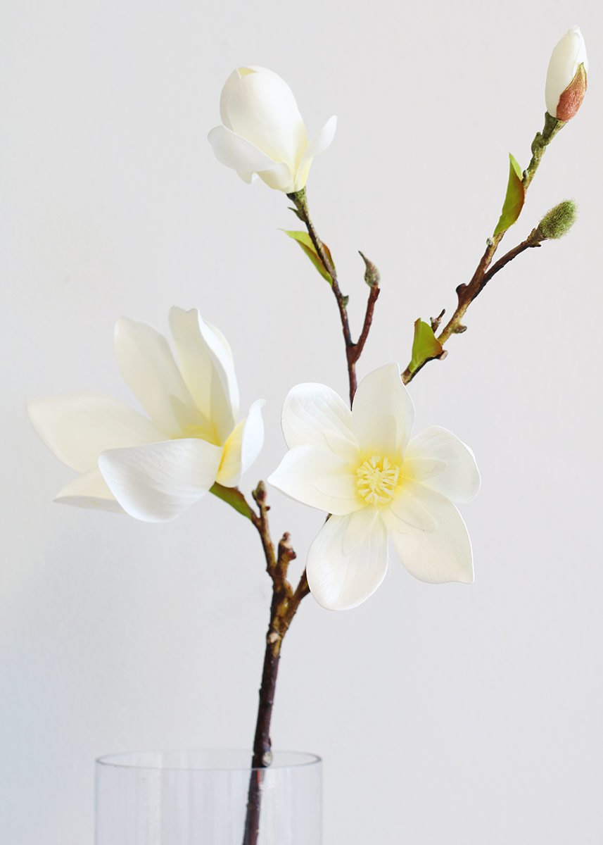 White Magnolia Branch Artificial Spring Wedding Flowers At Afloral Silk Flowers Wedding Flowers Flower Branch