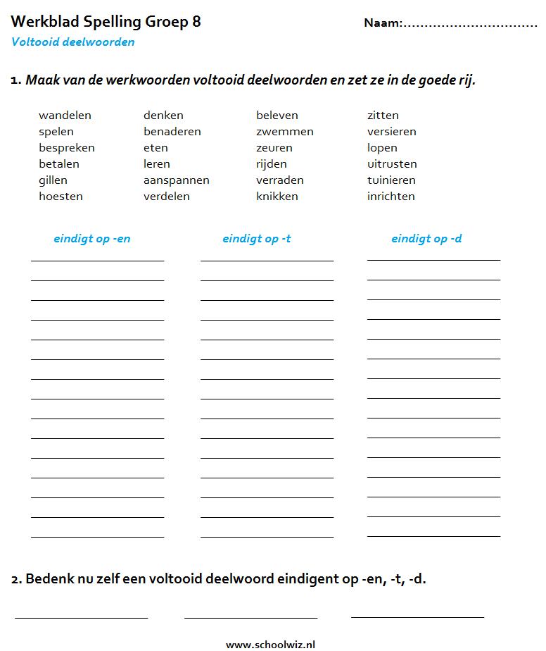 Voltooid deelwoorden    Participes pass u00e9s   Nederlandse taaloefeningen    Exercices de n u00e9erlandais