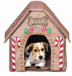 Gingerbread Dog Pet House Pop Up Portable Indoor House Chirstmas
