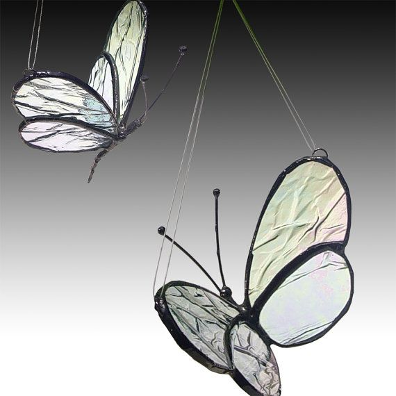 Two Stained Glass Butterflies Mother/Daughter 2 sizes por LAGlass