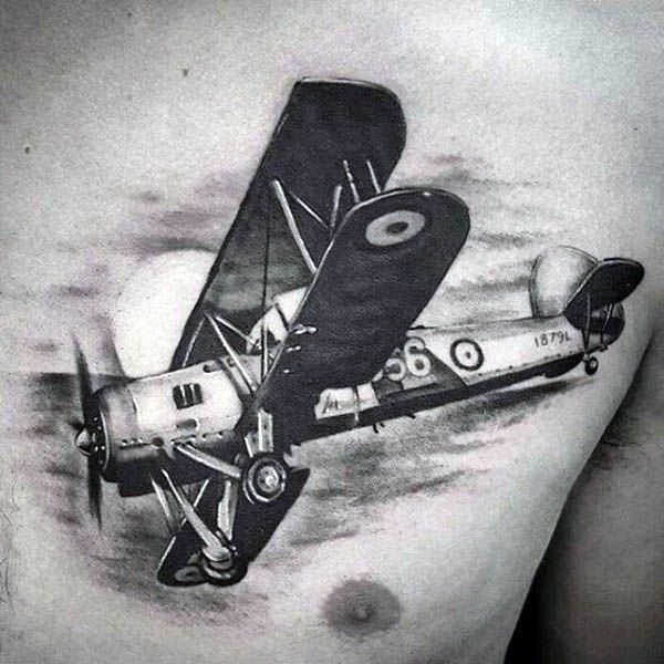 Military Airplane Men S Tattoos On Chest Airplane Tattoos