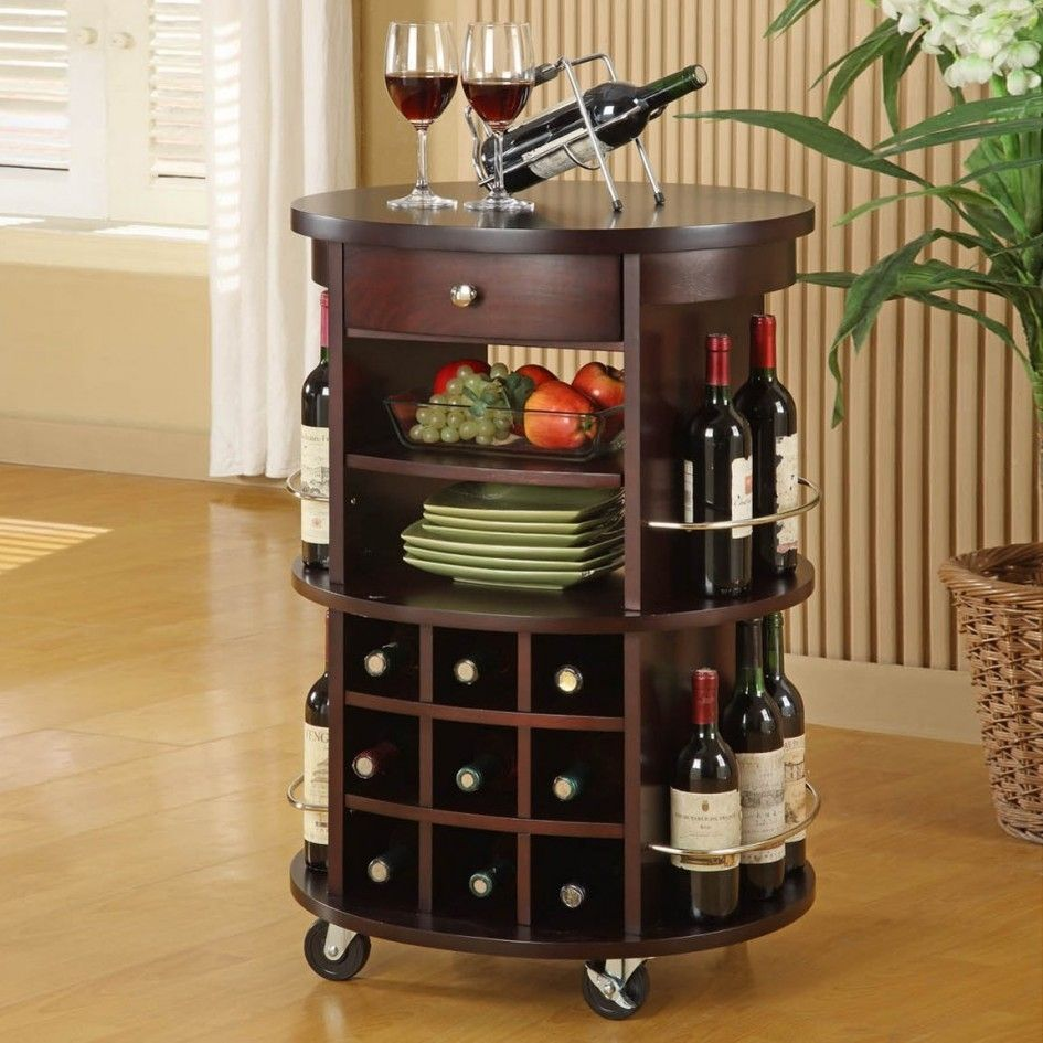 Monarch Specialties Round Bar Serving Cart With Wine Storage Cuccino Home Bars